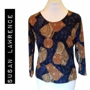 Susan Lawrence Blue Stretchy Top